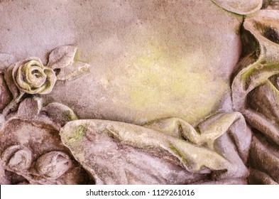 Medieval stone texture with a handmade rose. A fragment of Italian architecture. Creative background.