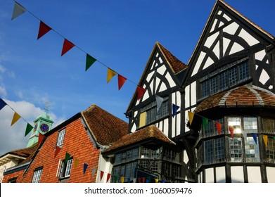 Medieval street in city of Salisbury. England, UK.