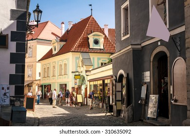 Medieval street in old town of Cesky Krumlov inside the castle, Czech Republic