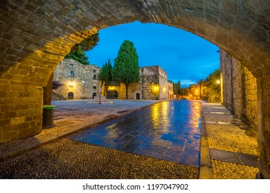 Medieval street in the old town of Rhodes Greece