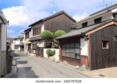 Medieval street with traditional japanese houses and storehouses in Bikan district, Kurashiki city, Japan