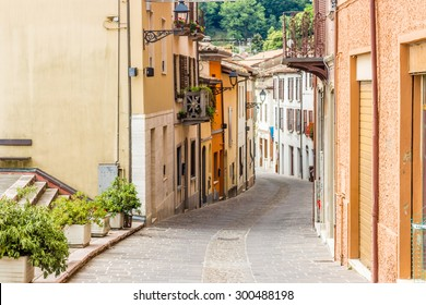medieval streets and ancient memories - the maze of alleys of a medieval village in Italy, between historical buildings and private homes