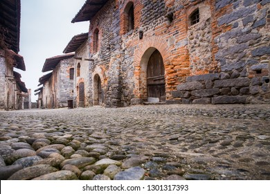 Medieval streets of the ancient village in Ricetto of Candelo, Biella province, Piedmont, Italy