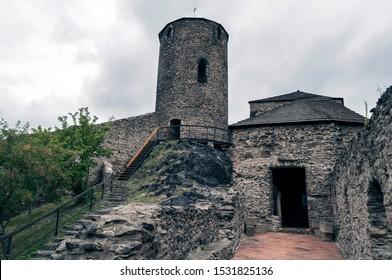 Medieval Strekov Castle in North Bohemia, Czech Republic.