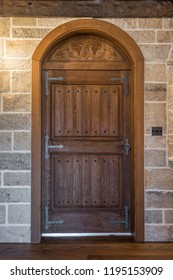 Medieval style door and stone wall