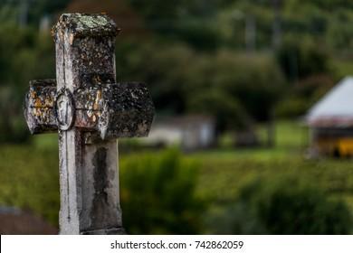 Medieval gravestonecross survives time.