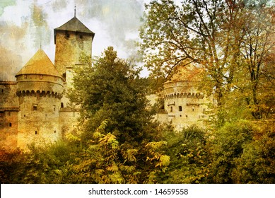 medieval swiss castle - artistic picture