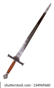 Medieval sword isolated on over white.