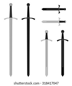 Medieval sword set. Video game resources. Raster isolated illustrations