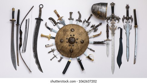 Medieval swords and shield, ancient weapons