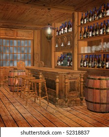 Medieval tavern chamber with bottles