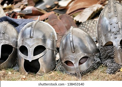 Medieval Templar helmets waiting for their knights