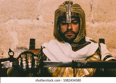 Medieval Templar soldier with sword