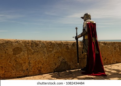 Medieval Templar soldier watches the coastline from the wall
