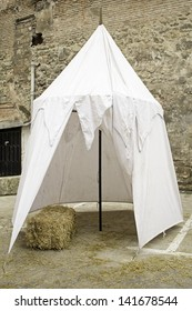 Medieval Tent urban street with straw, construction and recreation