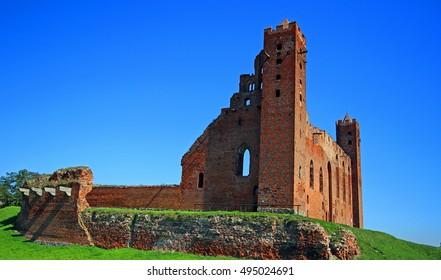 Medieval Teutonic Order castle ruins in Radzyn Chelminski, Poland.