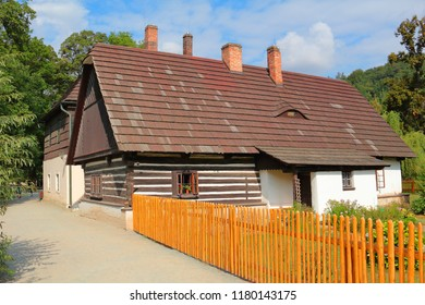 Medieval timber house in Ratiborice. Public tourist attraction in Babiccino udoli, Ratiborice, Czech republic, Europe. - Shutterstock ID 1180143175