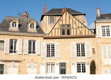 Medieval timberframe houses in  Le Mans Plantagenet city, Pays  de la Loire, France