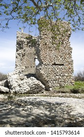 The medieval Tower of Fonias at the estuary of river at Samothrace island in Greece