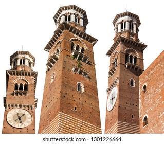 Medieval Tower (Torre dei Lamberti - XI century - 84 m.) isolated on white background. Verona, Veneto, Italy, Europe.