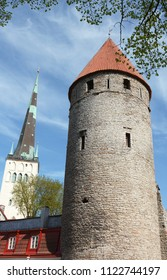 Medieval tower in Tower's Square, part of the fortifications around the Old Town of Tallinn