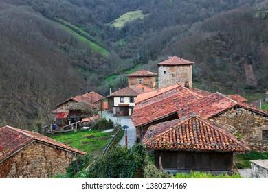 Medieval town in Asturias called Bandujo