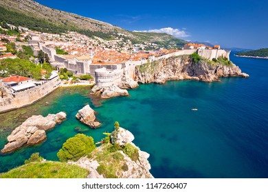 Medieval town of Dubrovnik with famous walls colorful view, UNESCO world heritage site in Dalmatia region of Croatia