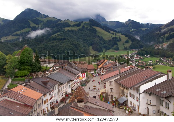 Medieval town Gruyeres, in the canton of Fribourg in Switzerland