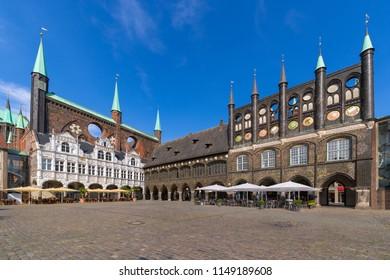 The medieval Town Hall (German: Lübecker Rathaus) of Luebeck (German: Lübeck), Germany. It is one of the largest medieval town halls in Germany.