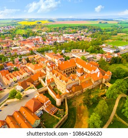 Medieval town Horsovsky Tyn founded in the  1184. The downtown with fascinating monumental renaissance castle. Czech Republic. Aerial view of a landmark in Czech Republic.