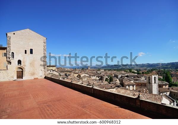 Medieval town panorama from Piazza Grande, Gubbio, Umbria Region, Perugia Province / Metropolitan city, Italy.