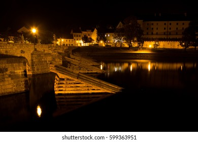 Medieval Town Pisek at the Night, Czech Republic