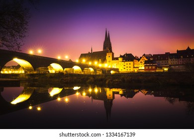 Medieval Town of Regensburg and the Historic Stone Bridge at Sunrise, Germany