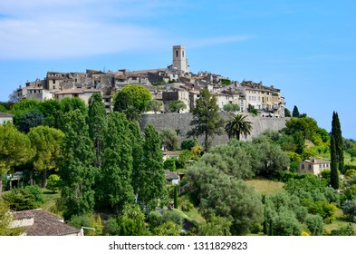 The medieval town of Saint Paul de Vence  in Provence Alpes Cote d Azur in South France, panoramic view, blue sky