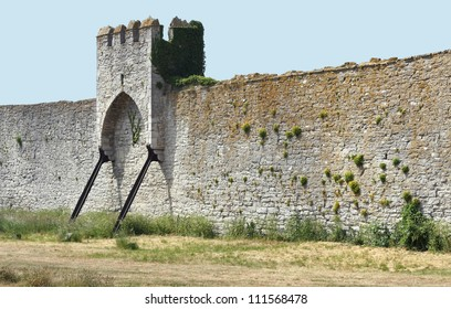 Medieval town wall with hangtower
