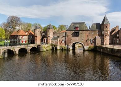 Medieval town wall Koppelpoort and the Eem river in Amersfoort, Netherlands