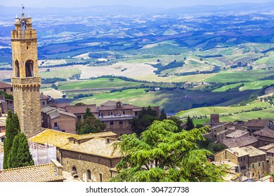 medieval towns of Tuscany-Montalcino with famous vineyards