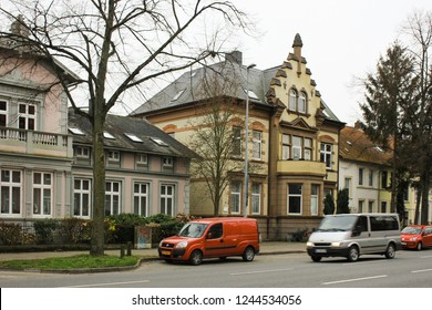Medieval traditional European houses on a stone pavement. Winter in Europe - Luneburg, Germany - 10.12.2017