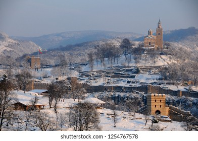 Medieval Tsarevets fortress in the city of Veliko Tarnovo in Bulgaria in the winter