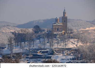 Medieval Tsarevets stronghold in the city of Veliko Tarnovo in Bulgaria in the winter