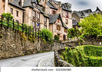 medieval village Conques out of a fairy book in the region of occitania