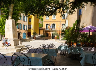 Medieval Village Cotignac Provence France Memorial on Market Square and Town Hall