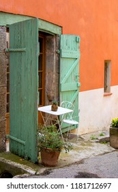 Medieval Village Cotignac Provence France, french Housing outside Sitting in Courtyard