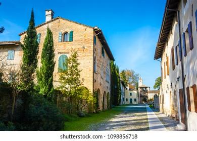 Medieval village courtyard in the castle of Cordovado, Friuli, Italy