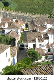 Medieval village inside the obidos castle in portugal