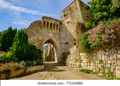 The medieval Village Lacoste, Provence, France. Luberon. Fortified entrance. The Portal Guard.
