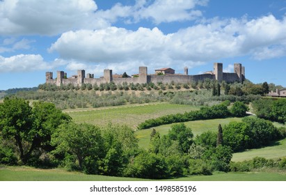 the medieval Village of Monteriggioni in Tuscany,Italy