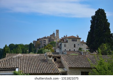 The medieval village of Saint Paul de Vence in Provence Alpes Cote d Azur in South France, view from the old city wall, blue sky, summer