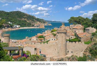 medieval Village of Tossa de Mar at Costa Brava in Catalonia, mediterranean Sea, Spain