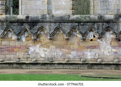 Medieval wall detail at Fountains Abbey a UNESCO world heritage site